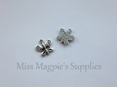 SILVER TONE - BUTTERFLY ' CREATED FOR YOU ' - PACK OF 10