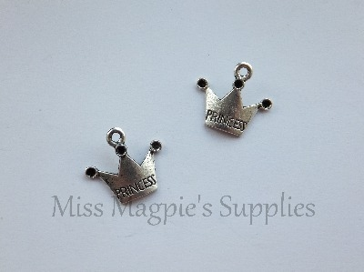 SILVER TONE - PRINCESS CROWN - PACK OF 5