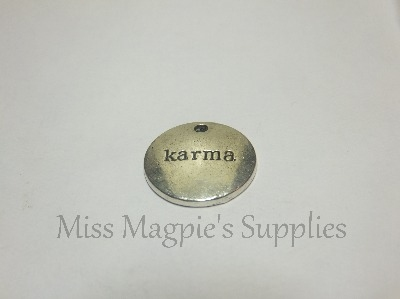 SILVER TONE - ROUND 'KARMA ' DISK - PACK OF 5