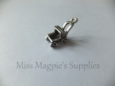 3D SILVER TONE  - CARRIAGE / PRAM - BABY - PACK OF 5