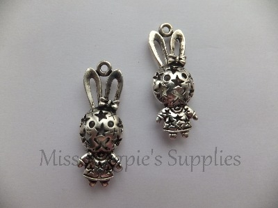 3D SILVER TONE  - GIRL BUNNY WITH STARS N BOW- PACK OF 1