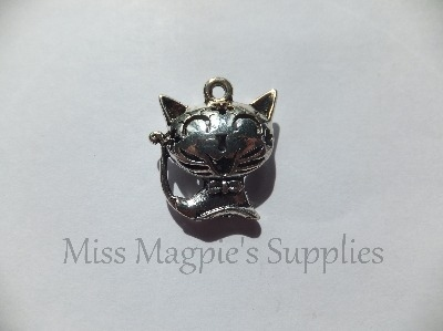 3D SILVER TONE - CUTE CAT - PACK OF 1