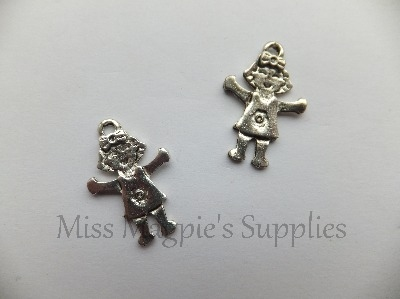 SILVER TONE - HAPPY GIRL - PACK OF 5