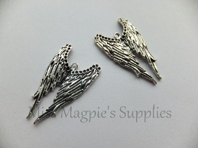 SILVER TONE - LARGE ANGEL WINGS - PACK OF 1