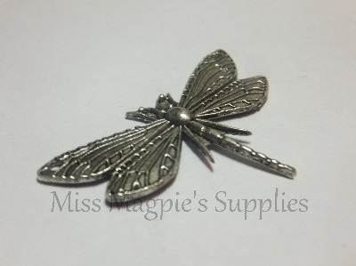 SILVER TONE - LARGE DRAGONFLY - PACK OF 1