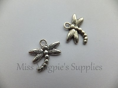 SILVER TONE - MEDIUM SIZE DRAGONFLY B - PACK OF 5