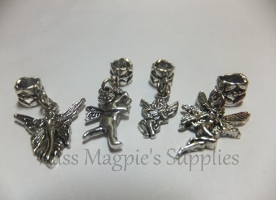 SILVER TONE - MIX DANGLING FAIRIES AND CUPIDS - PACK OF 4
