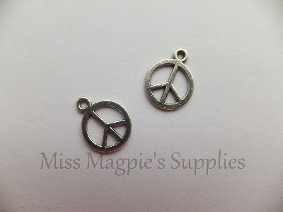 SILVER TONE - PEACE CHARM - PACK OF 5