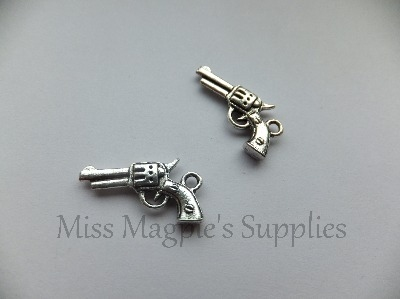 SILVER TONE - PISTOL GUN - PACK OF 5