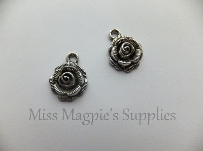 SILVER TONE - ROSE - PACK OF 5