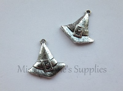 SILVER TONE - WITCH HAT - HALLOWEEN - PACK OF 5