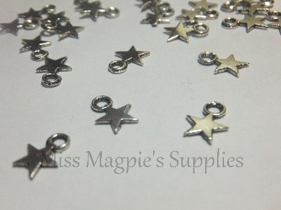 SILVER TONE - TINY STARS - PACK OF 50
