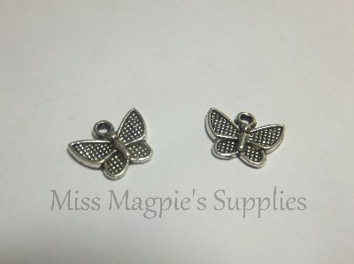 SILVER TONE - TEXTURED BUTTERFLY - PACK OF 20