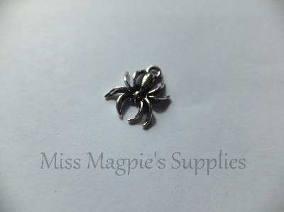 SILVER TONE - SPIDER - HALLOWEEN - PACK OF 10