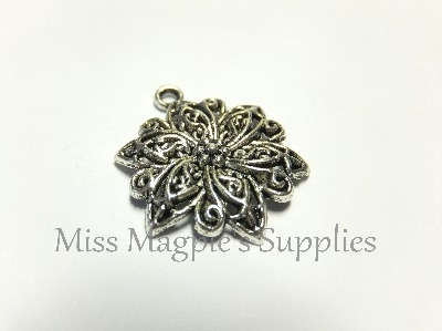SILVER TONE - PATTERNED FLOWER - PACK OF 5