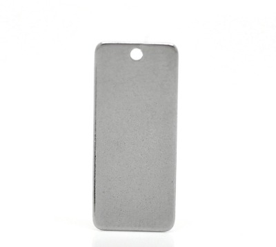 SILVER TONE - STAINLESS STEEL ' 38X16MM LARGE RECTANGLE ' STAMPING BLANKS -