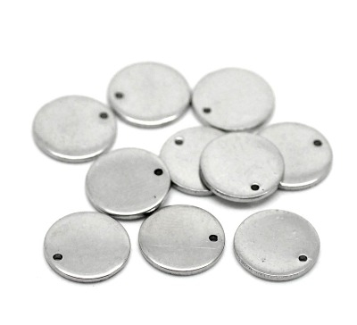 SILVER TONE - STAINLESS STEEL ' 10MM SMALL ROUND ' STAMPING BLANKS - PACK O