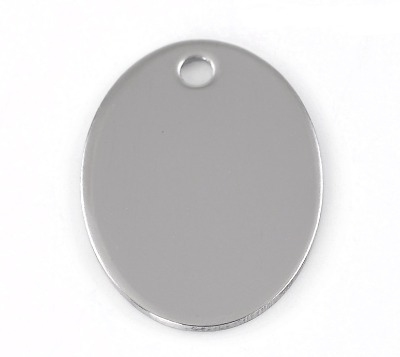 SILVER TONE - STAINLESS STEEL ' 30X22MM LARGE OVAL ' STAMPING BLANK - PACK