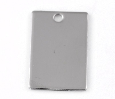 SILVER TONE - STAINLESS STEEL ' 30X20MM WIDE RECTANGLE ' STAMPING BLANK - P