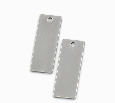 SILVER TONE - STAINLESS STEEL ' 25X9MM RECTANGLE  ' STAMPING BLANK - PACK O