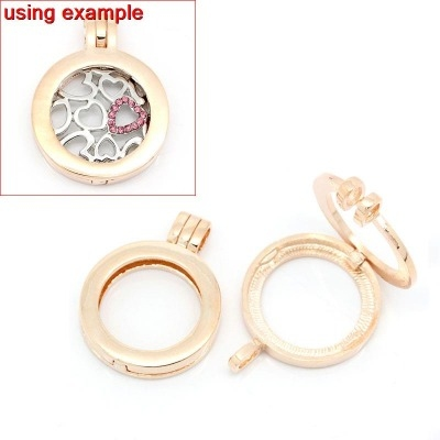 ROSE GOLD FLOATING LOCKET - NO GLASS - 36X28MM - PACK OF 1