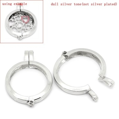 SILVER TONE (SIDE LOCKING) FLOATING LOCKETS - 37X27MM - PACK OF 1