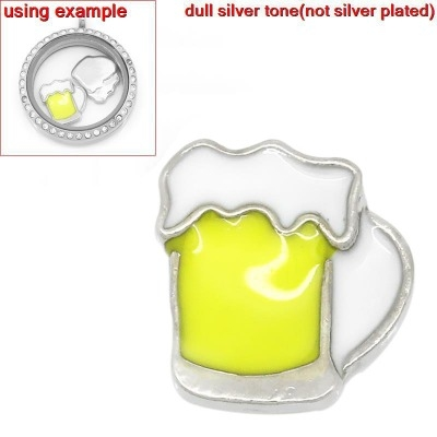 FLOATING ENAMEL CHARM - BEER - 12X11MM - PACK OF 1