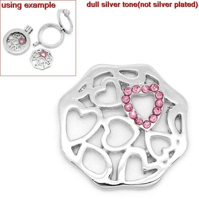 FLOATING LOCKET CHARM DISK - SMALL HEARTS - 24X23MM - PACK OF 1