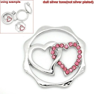 FLOATING LOCKET CHARM DISK - DOUBLE HEART - 24X23MM - PACK OF 1