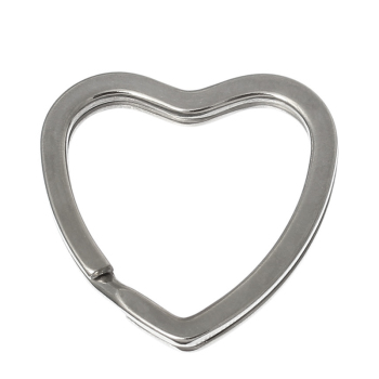 SILVER TONE - HEART KEY/SPLIT RING - PACK OF 5