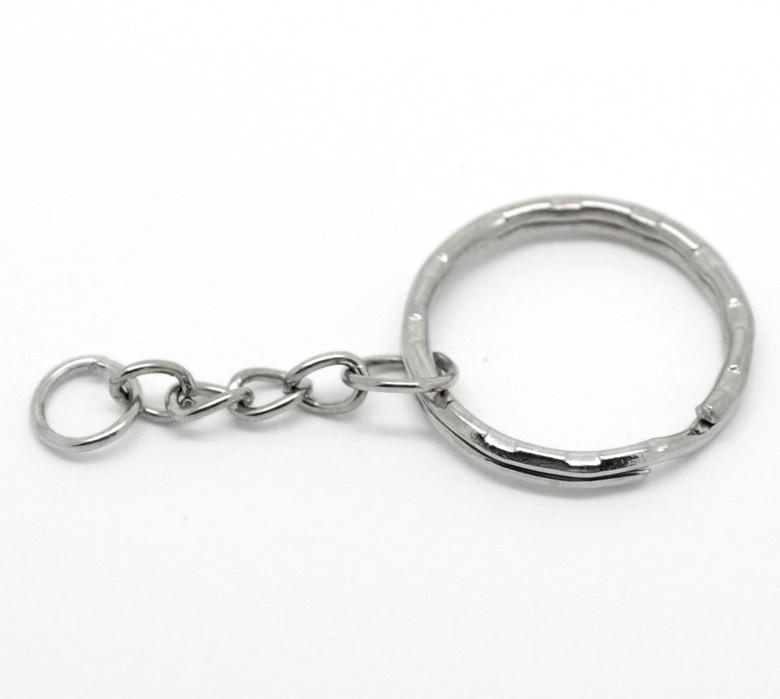 SILVER TONE - KEY/SPLIT RING WITH CHAIN - PACK OF 10