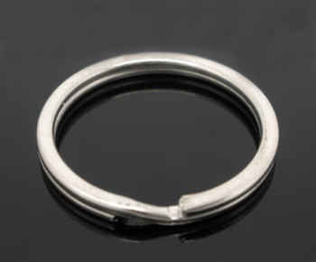 SILVER PLATED - ROUND KEY/SPLIT RING 25MM - PACK OF 10