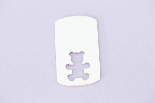 #211 - LARGE DOGTAG WITH BEAR CUTOUT - ALUMINUM METAL STAMPING BLANKS - 14G