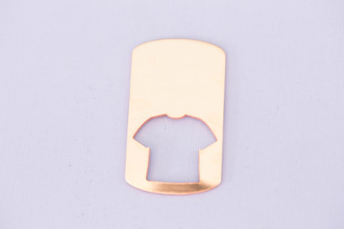 #205 - LARGE DOGTAG WITH JERSEY T SHIRT CUTOUT - COPPER METAL STAMPING BLAN