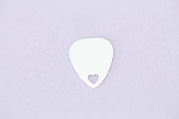 #189 - GUITAR PICK WITH HEART CUTOUT - ALUMINUM METAL STAMPING BLANKS - 14G