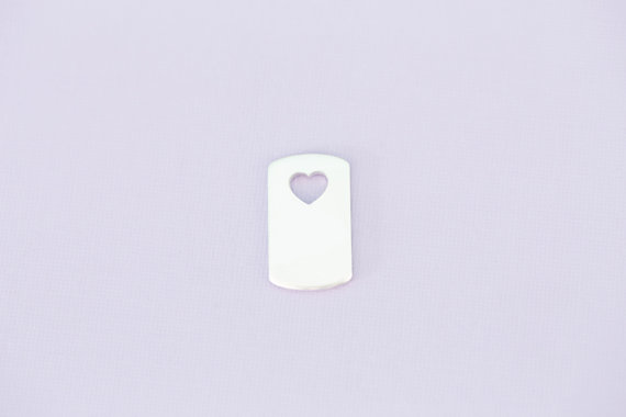 #186 - SMALL DOGTAG WITH HEART CUTOUT - ALUMINIUM METAL STAMPING BLANKS - 1