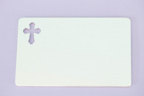 #145 - ALUMINUM WALLET INSERT WITH CROSS CUT OUT  - ALUMINUM STAMPING BLANK