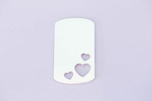 #156 - ALUMINUM LARGE TRIPLE HEART DOGTAG - ALUMINUM STAMPING BLANKS - 14G