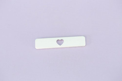 #148 - ALUMINUM LONG ROUNDED SMALL RECTANGLE WITH HEART CUT OUT - ALUMINUM