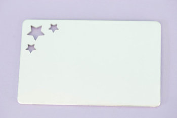 "#149 - 2.125"" by 3.375"" WALLET INSERT WITH TRIPLE STARS - ALUMINUM STAMPING BLANKS - 14G - PACK OF 5"