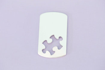 "#150 - 1.92"" LARGE PUZZLE PIECE DOGTAG - ALUMINUM STAMPING BLANKS - 14G - PACK OF 5"