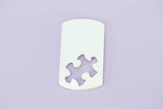 #150 - ALUMINUM LARGE PUZZLE PIECE DOGTAG - ALUMINUM STAMPING BLANKS - 14G