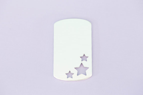 #155 - ALUMINUM LARGE TRIPLE STAR DOGTAG - ALUMINUM STAMPING BLANKS - 14G -