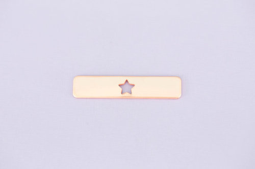 #175 - RECTANGLE WITH STAR CUTOUT - COPPER METAL STAMPING BLANKS - 16G - PA