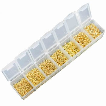 GOLD PLATED - BOX OF MIXED JUMP RINGS - 1500 + BOX - SIZES 3-8MM