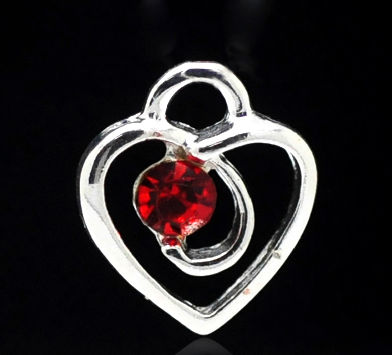 SILVER PLATED - HEART WITH STONE - PACK OF 1