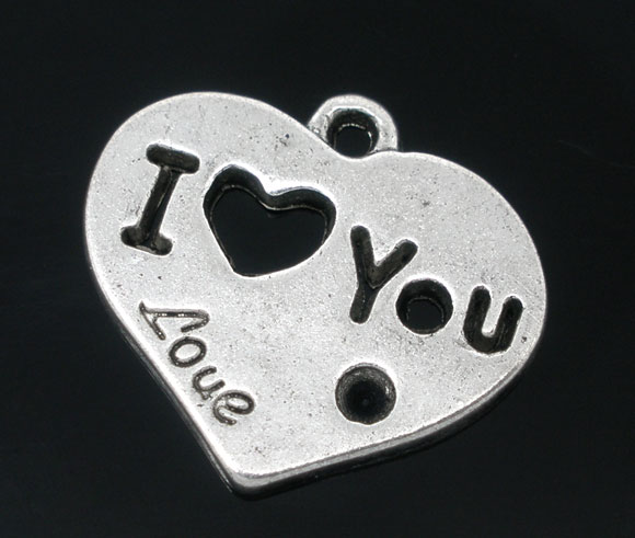 SILVER TONE - ' I LOVE YOU ' HEART  - PACK OF 5