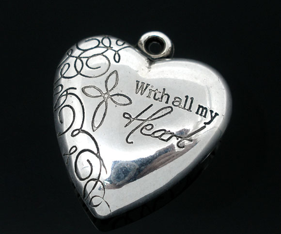 3D SILVER TONE - ' WITH ALL MY HEART ' HEART - PACK OF 1