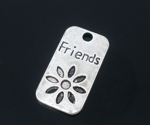 SILVER TONE - ' FRIEND ' RECTANGLE TAG - PACK OF 1