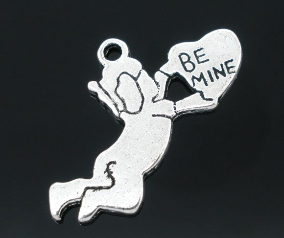 SILVER TONE - BE MINE CUPID - PACK OF 5